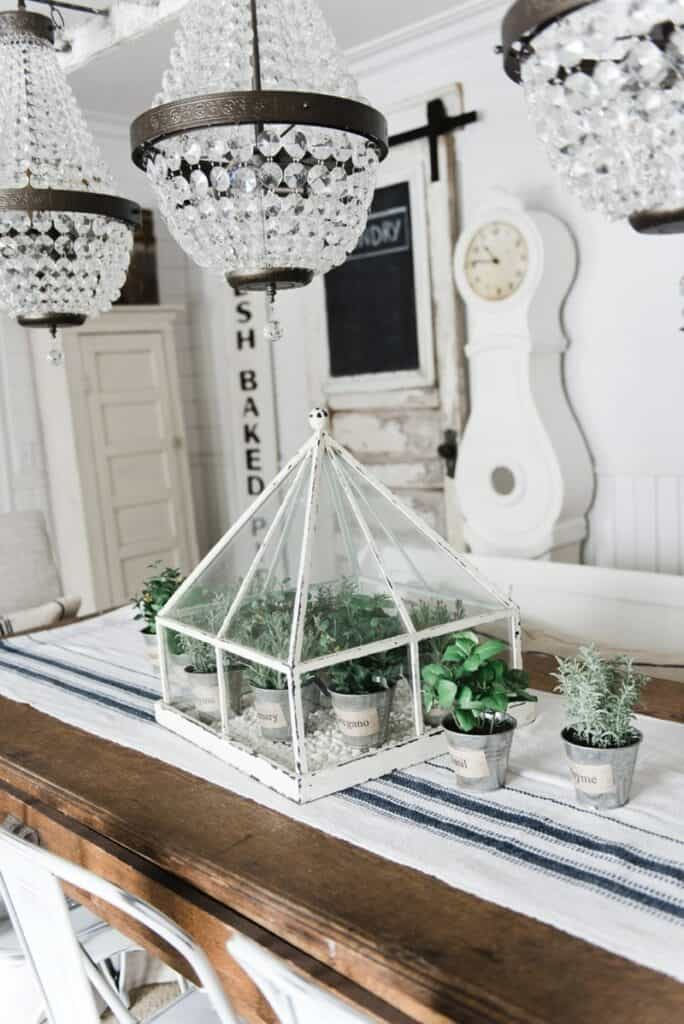 farmhouse tabletop greenhouse