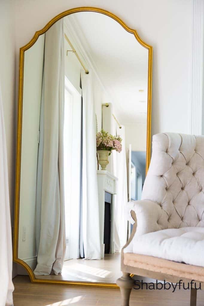 affordable leaner mirror in gold