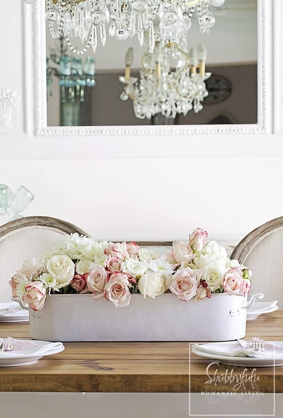 centerpiece for roses shabby chic
