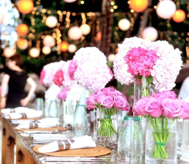 pink flowers celebration