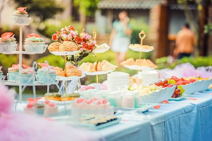 buffet by the pool spring tea party outdoors