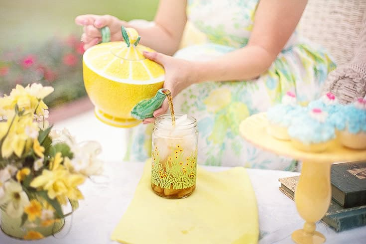 spring tea party outdoors with iced tea
