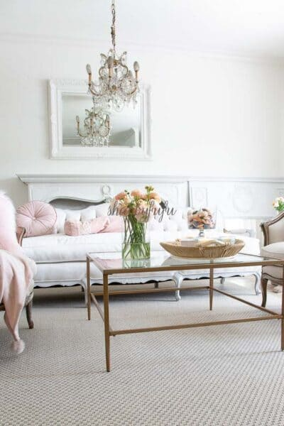 blush pink living room decorating