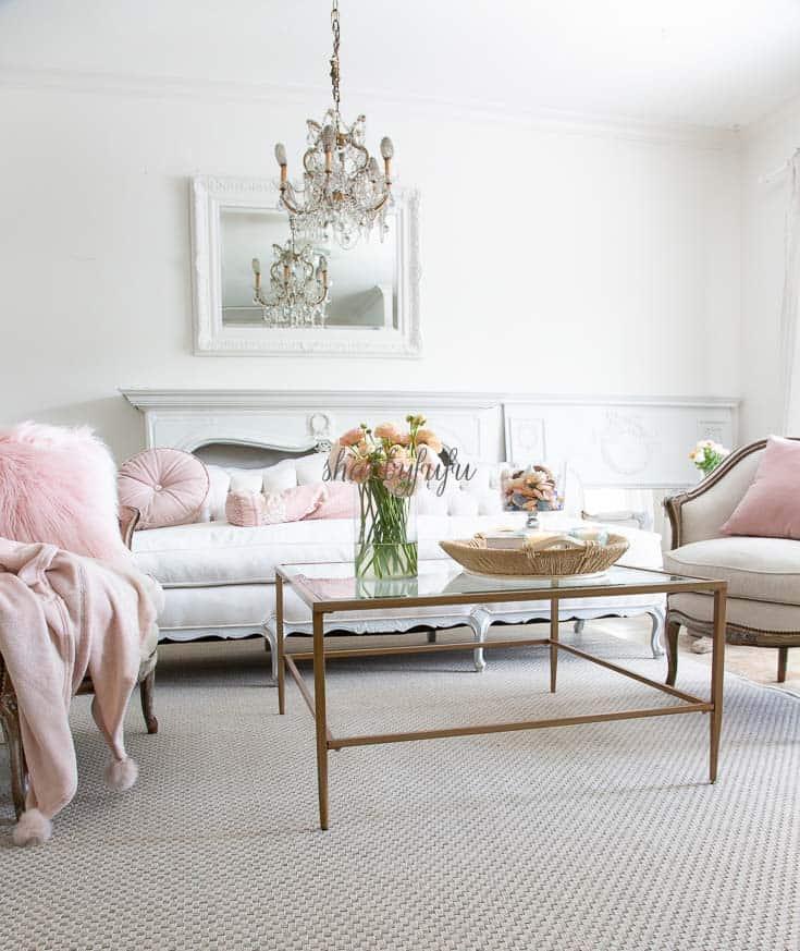 blush pink living room decorating