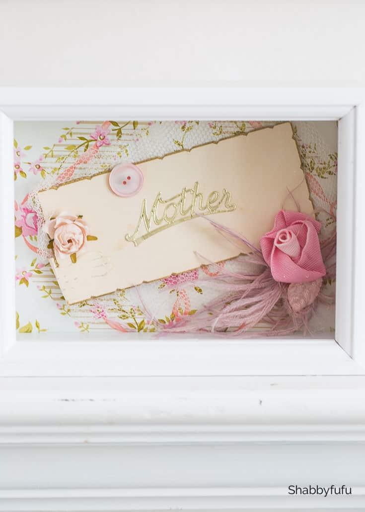 shadow box frame displaying heirlooms