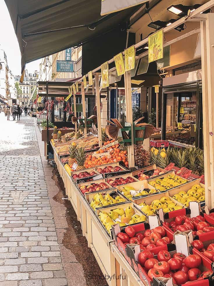 rue cler market in paris