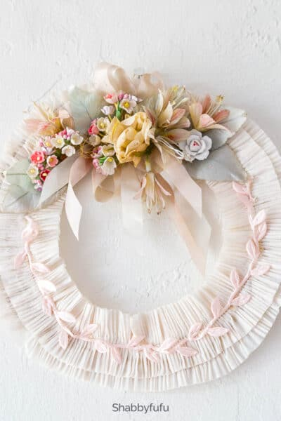 vintage wreath with crepe paper and millinery flowers