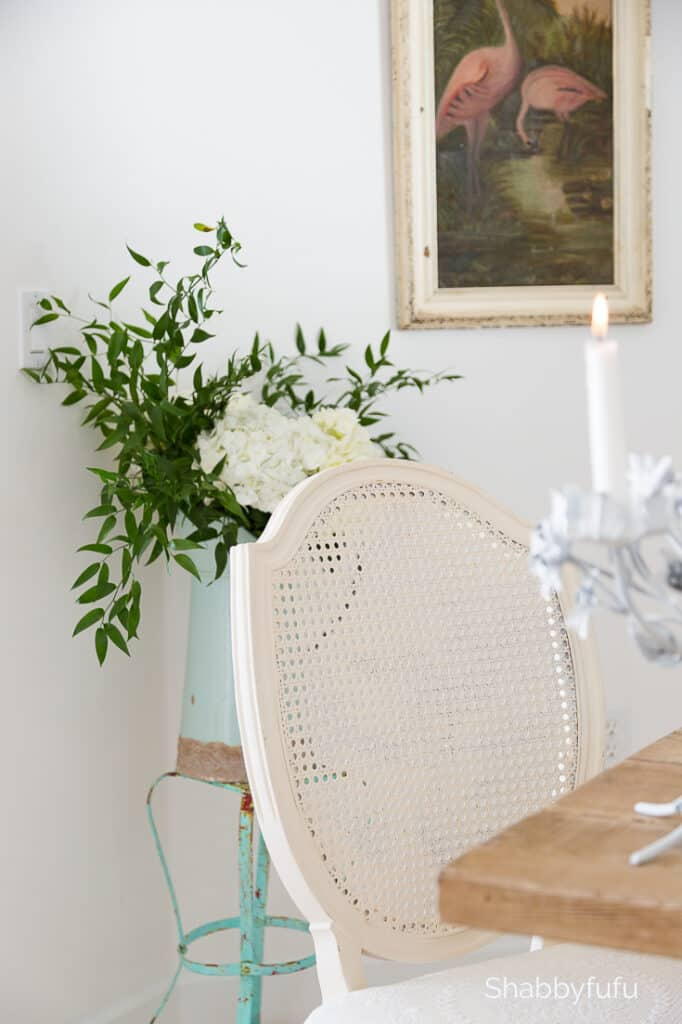 vintage white caned chair
