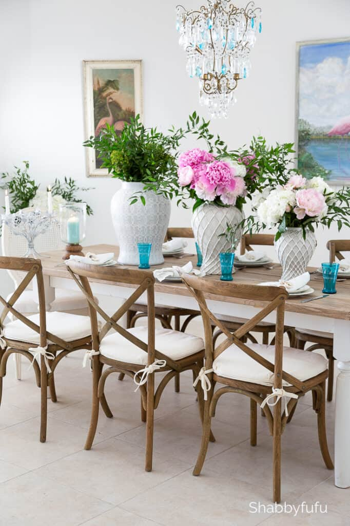easy summer tablescape coastal dining room