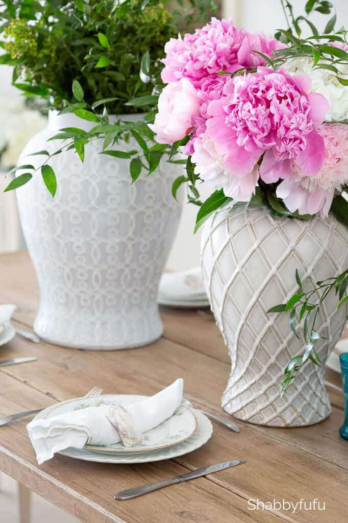 white ginger jars with pink peonies