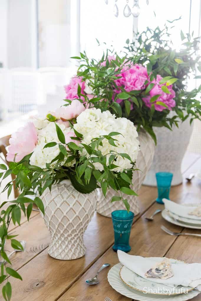 white ginger jars floral arranging