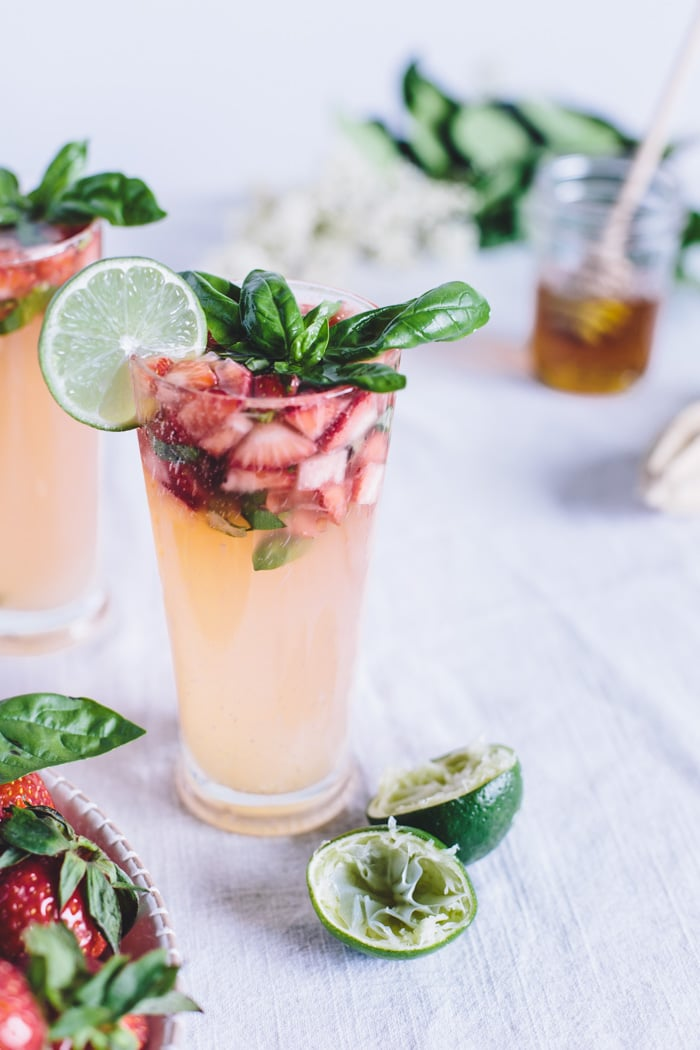 summer strawberry drinks basil infused limeade