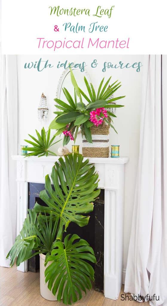 Monstera Leaf & Palm Tree Tropical Mantel