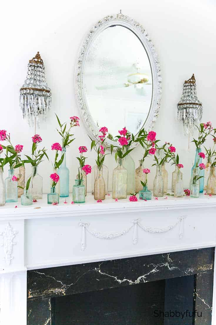 decorate with collections of vintage bottles