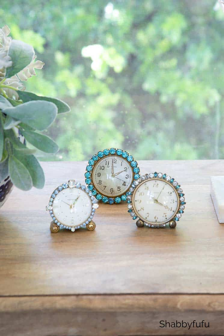 vintage rhinestone clocks