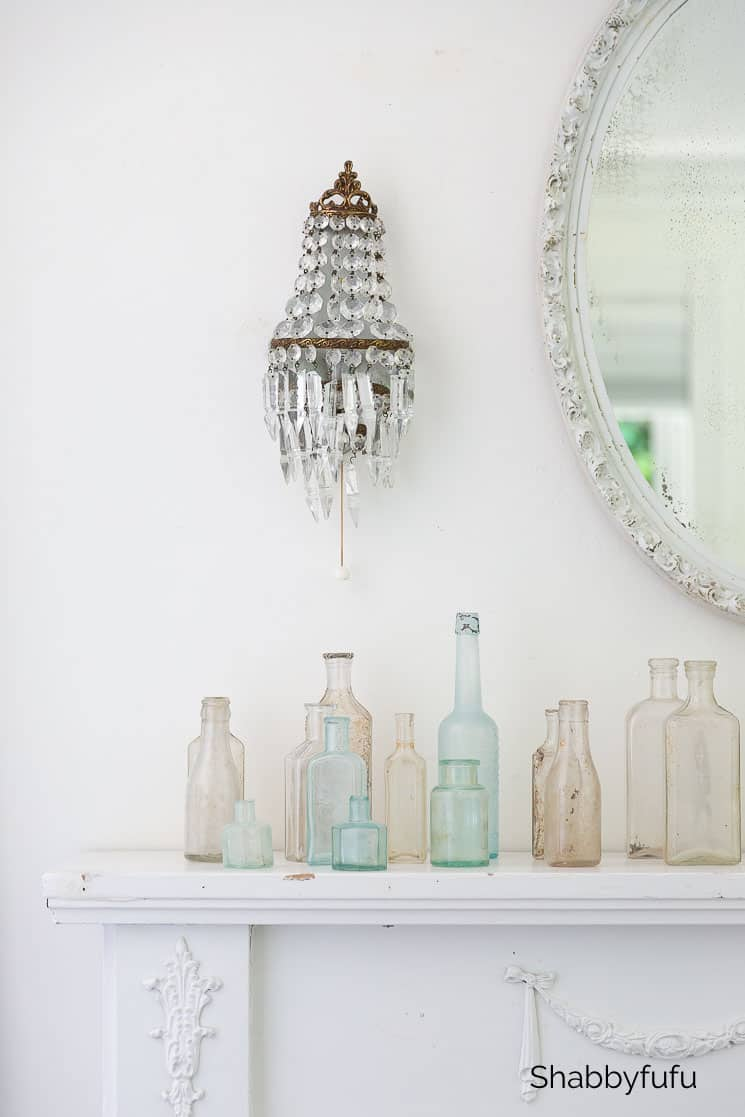 summer bedroom tips mantel with bottles