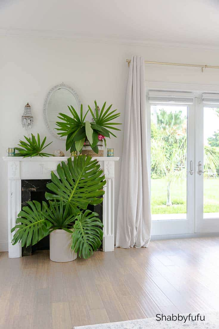 tropical mantel in the bedroom
