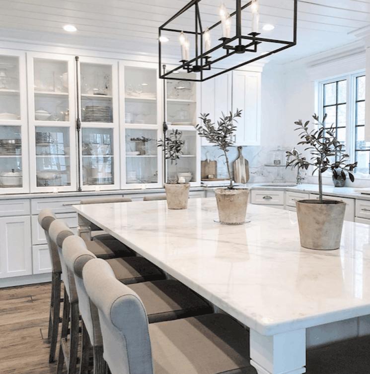 elegant marble farmhouse kitchen