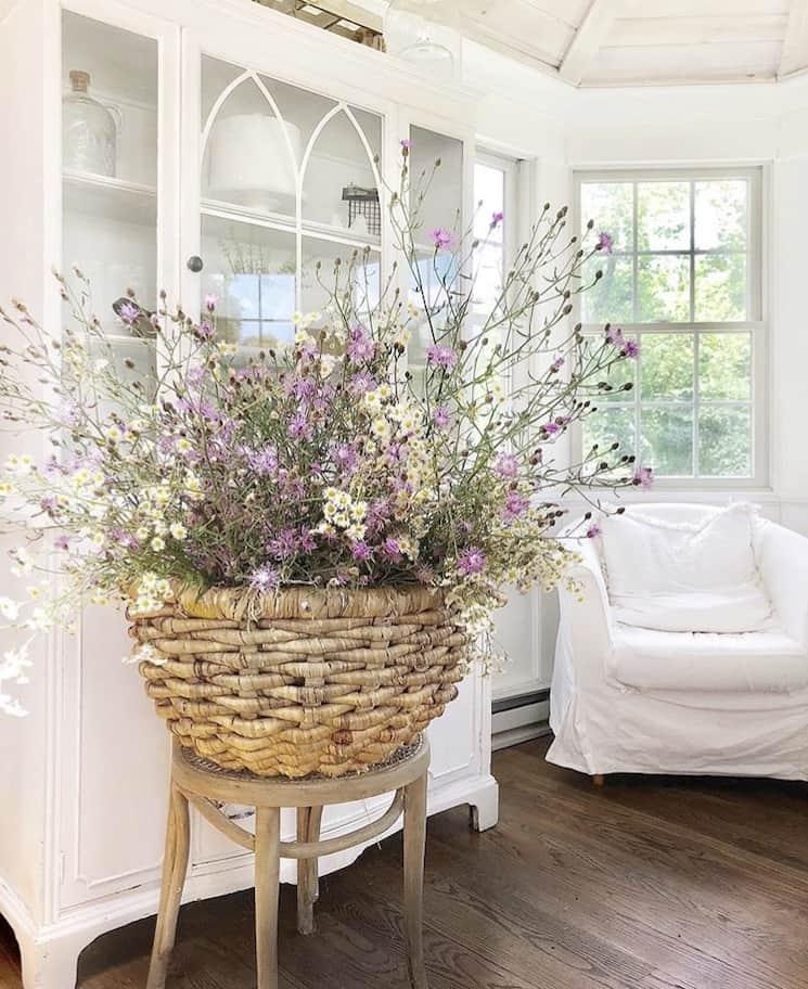 wicker basket with wildflowers