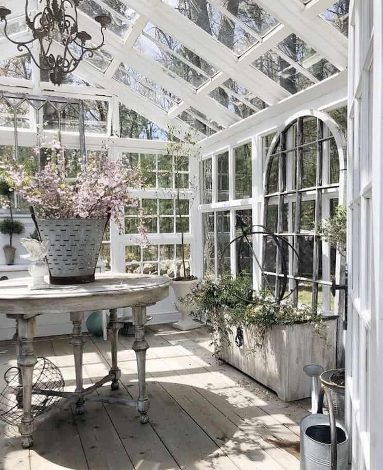 New England style decor greenhouse
