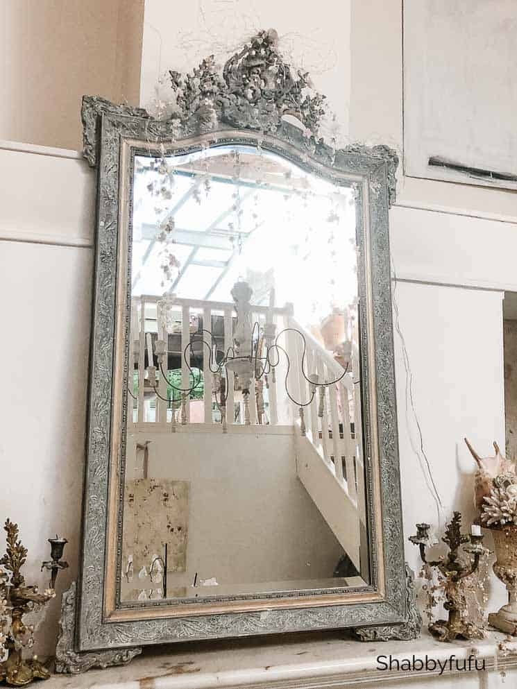 French farmhouse decor antique mirror