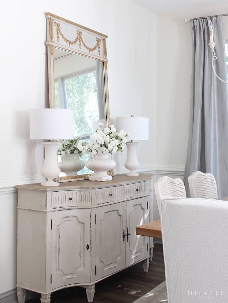 french country modern buffet tuft and trim