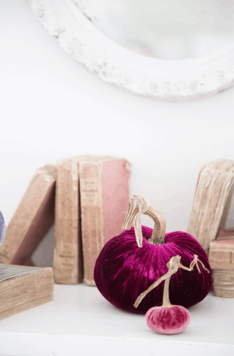 thrift store fall decorating with vintage books