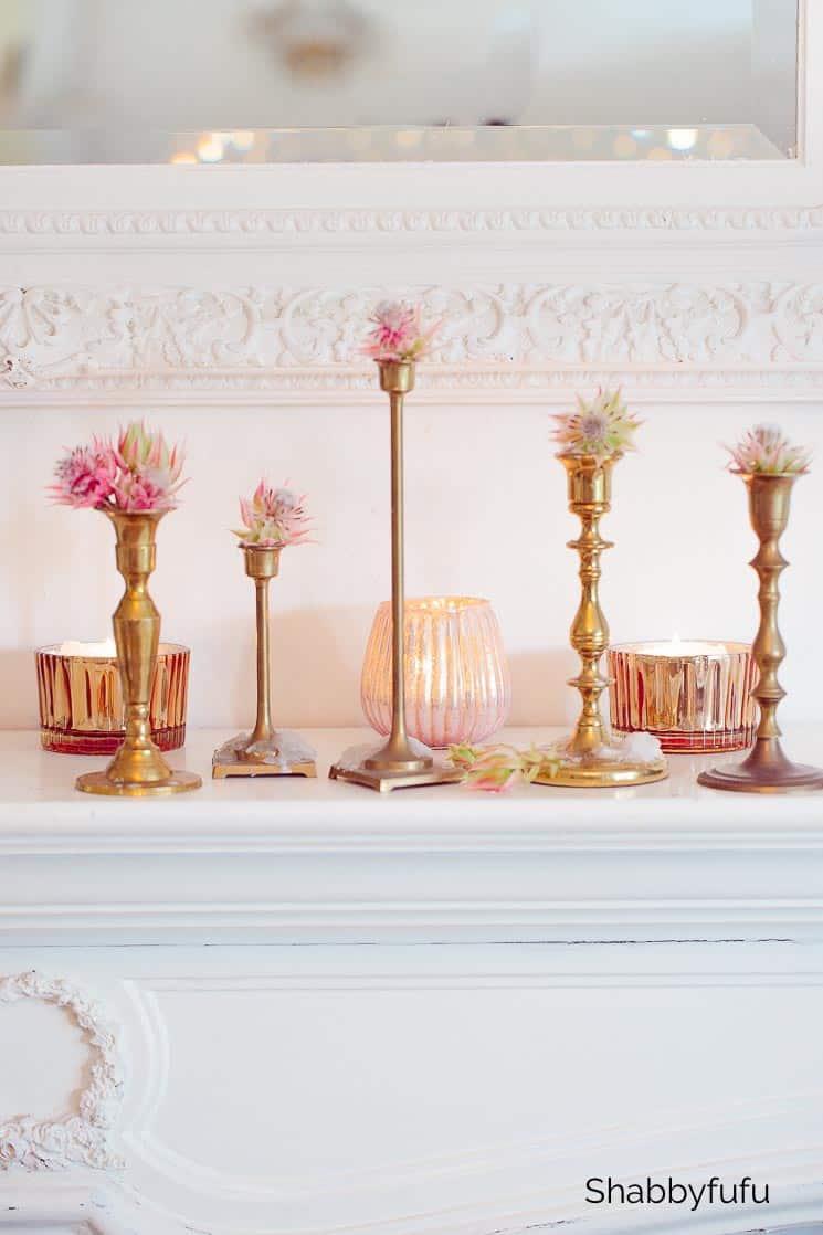 vintage brass candlesticks thrift store fall