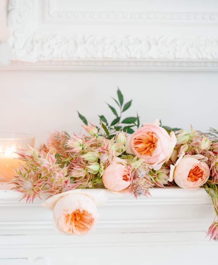 display flowers on a mantel