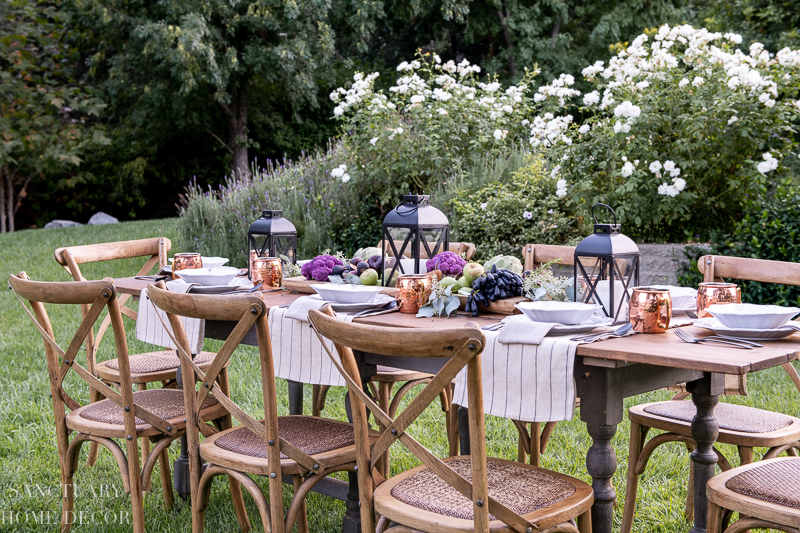 fall harvest table setting outdoors
