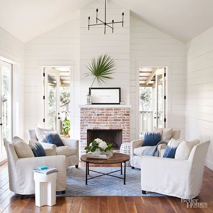 blue and white living room modern farmhouse decor