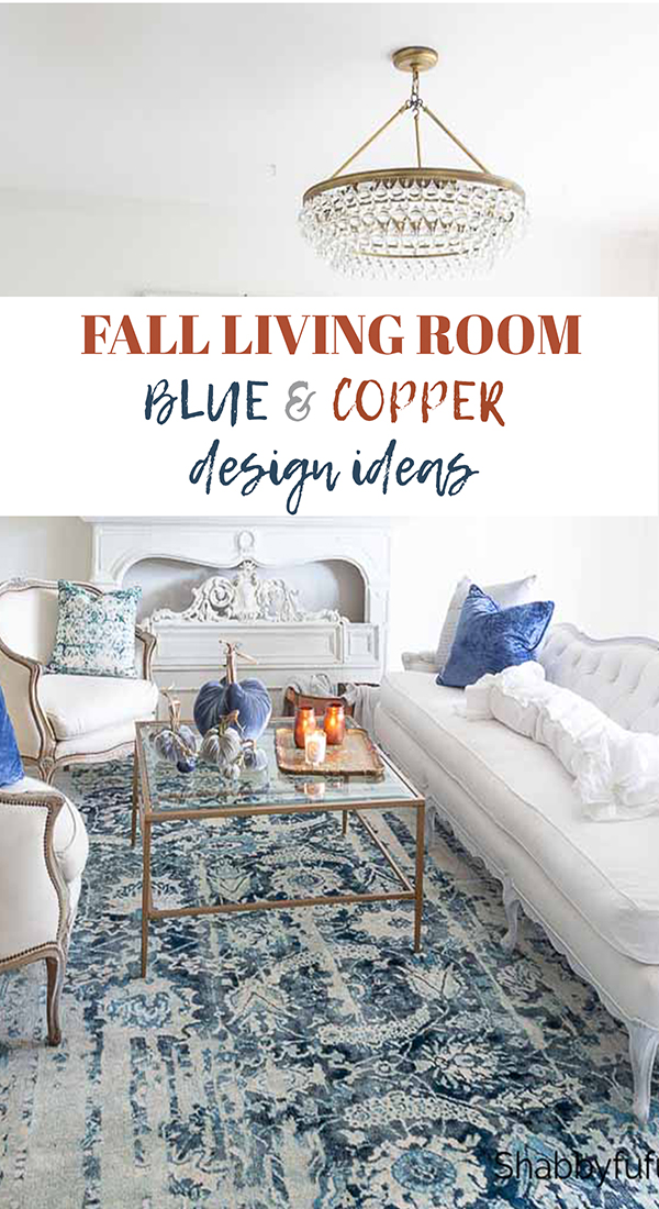 fall living room in blue and copper