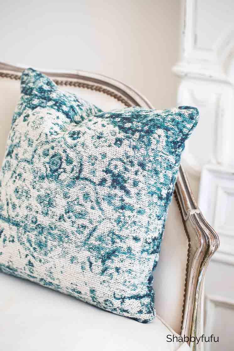 classic blue color velvet pillow