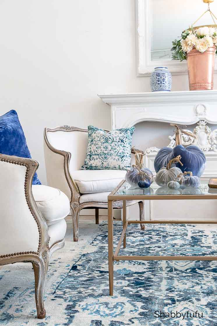 fall living room french country style blue