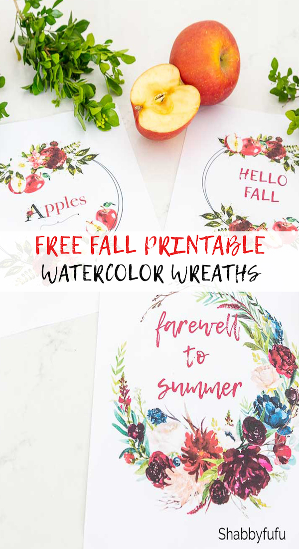 free fall printable watercolor wreaths