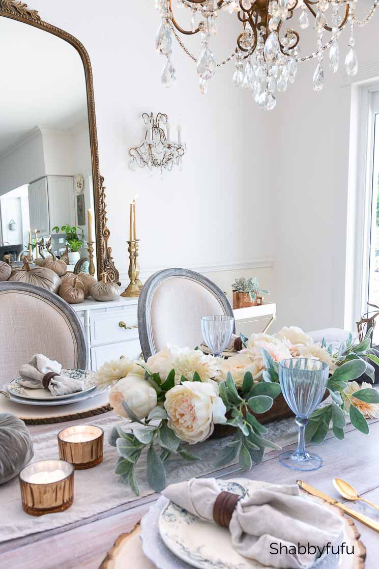 table setting for fall rustic French farmhouse
