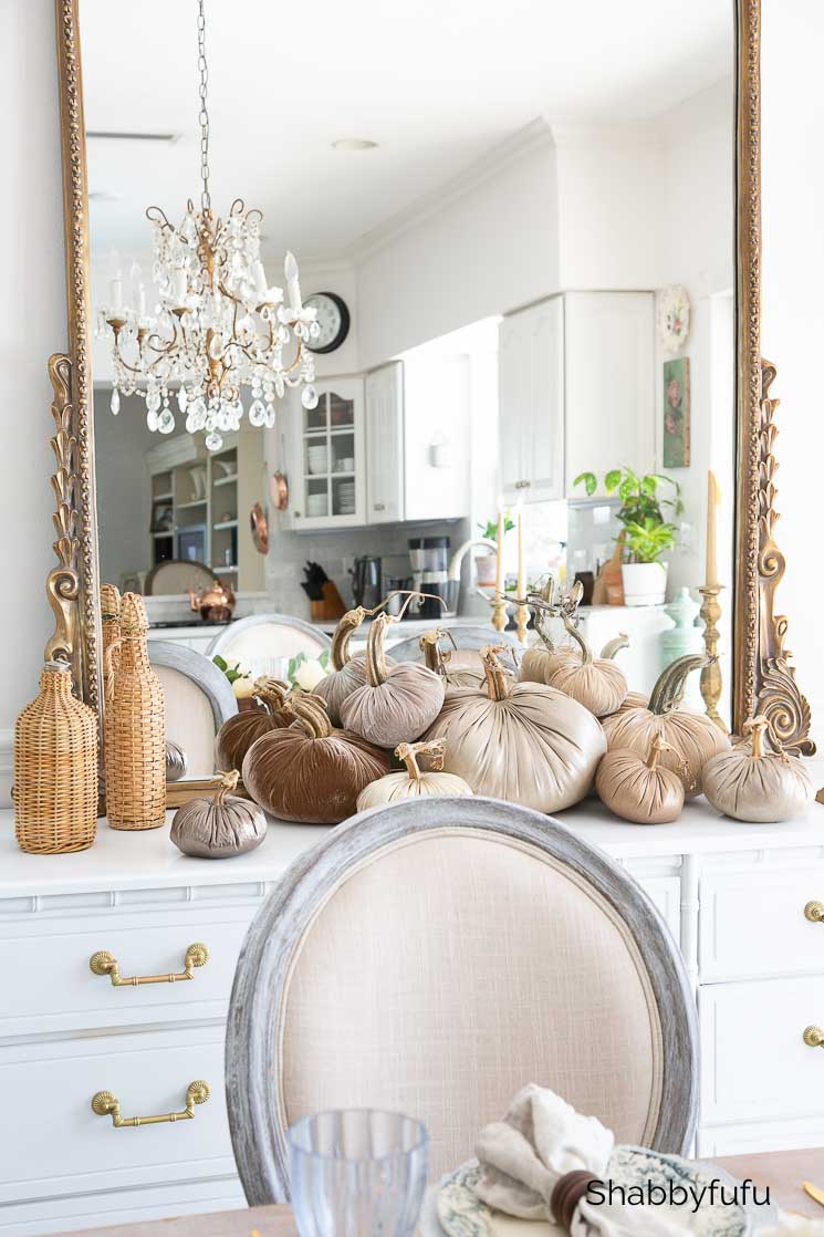 collection of metallic and velvet pumpkins