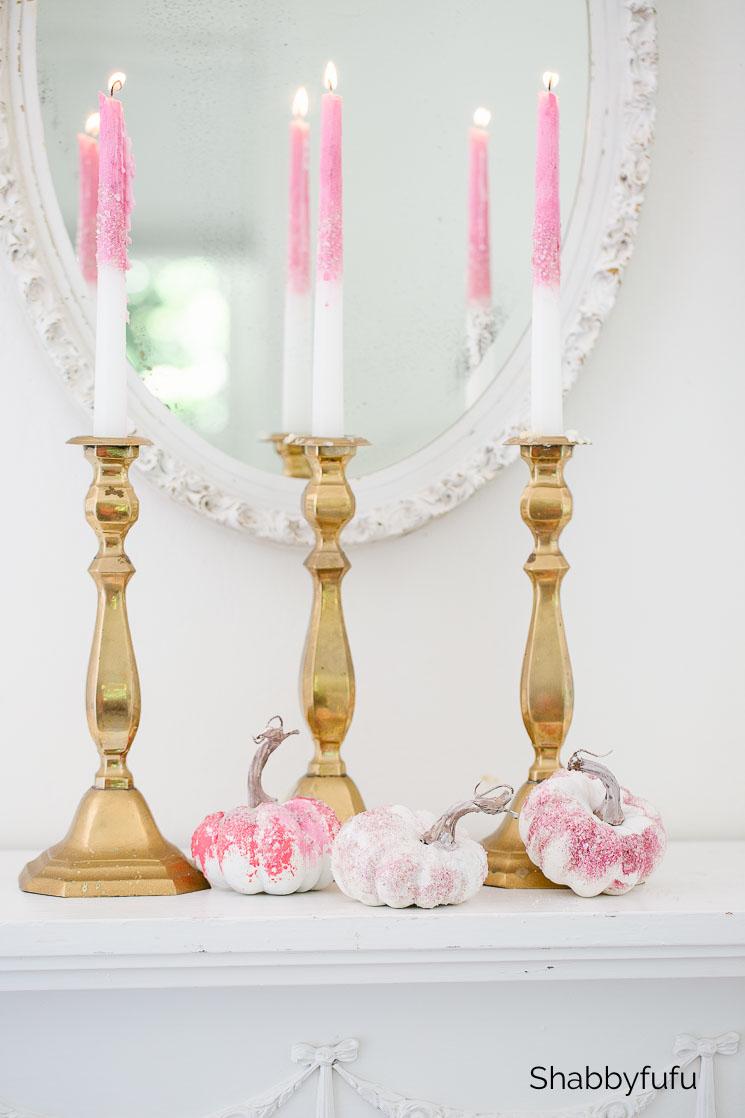 pink glitter candles and glitter pumpkins