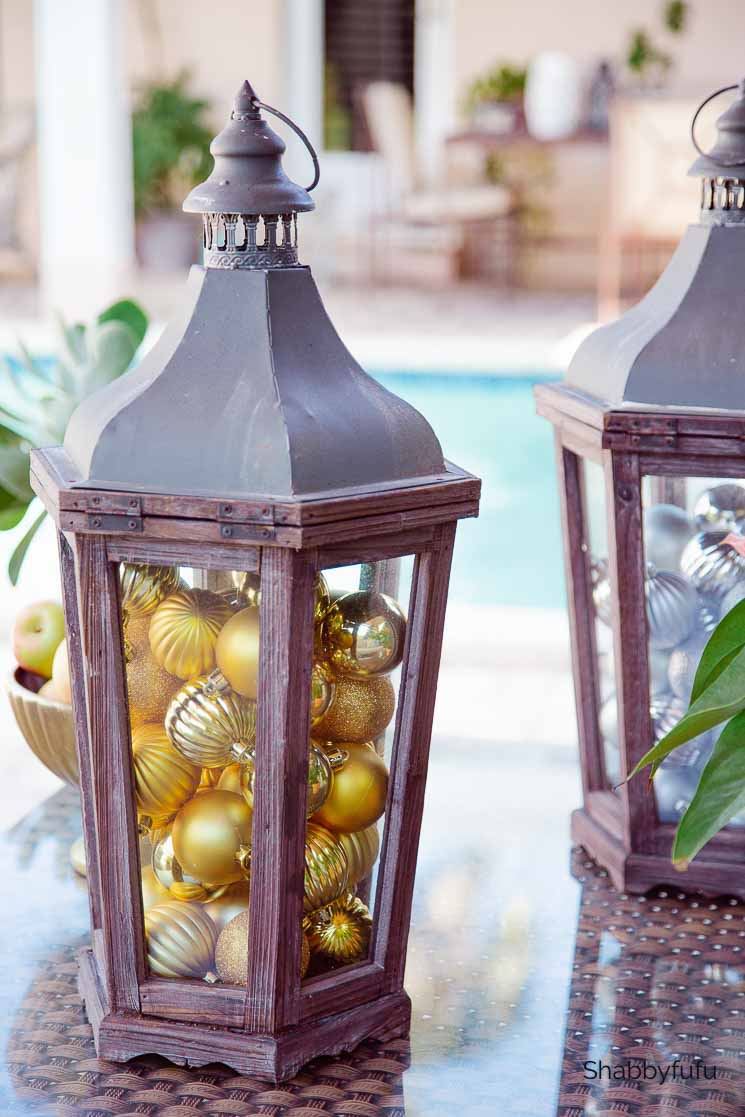 lanterns with Christmas ball ornaments