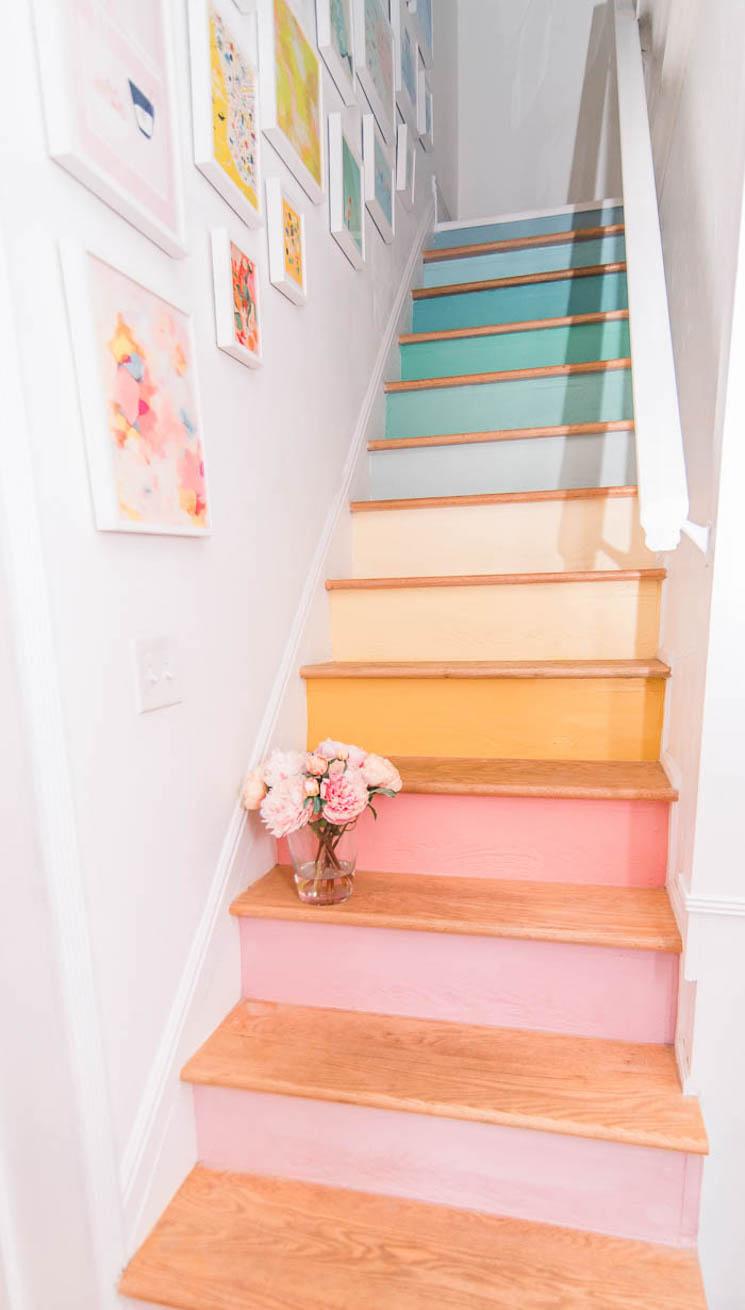 pastel rainbow stairs