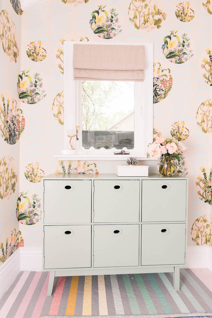 whimsical pastel wallpapered room