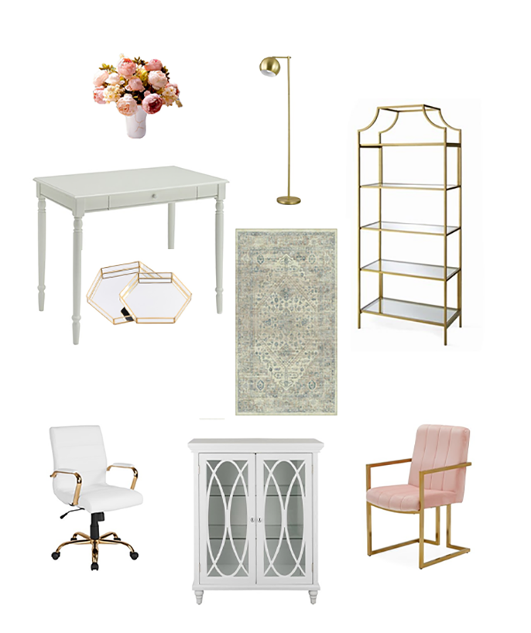 affordable feminine office decor
