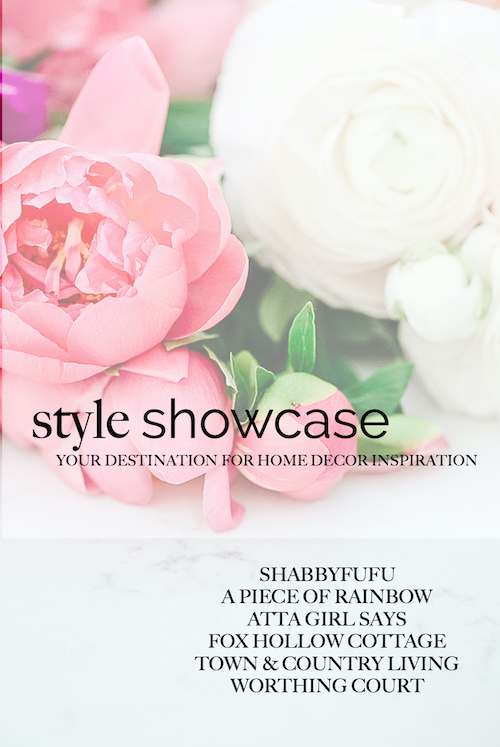 "faded photo of pink and white roses with a text overlay, ""style showcase"""