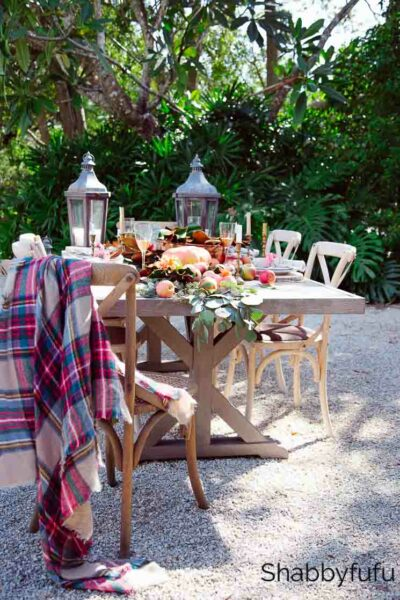 Friendsgiving outdoor table setting