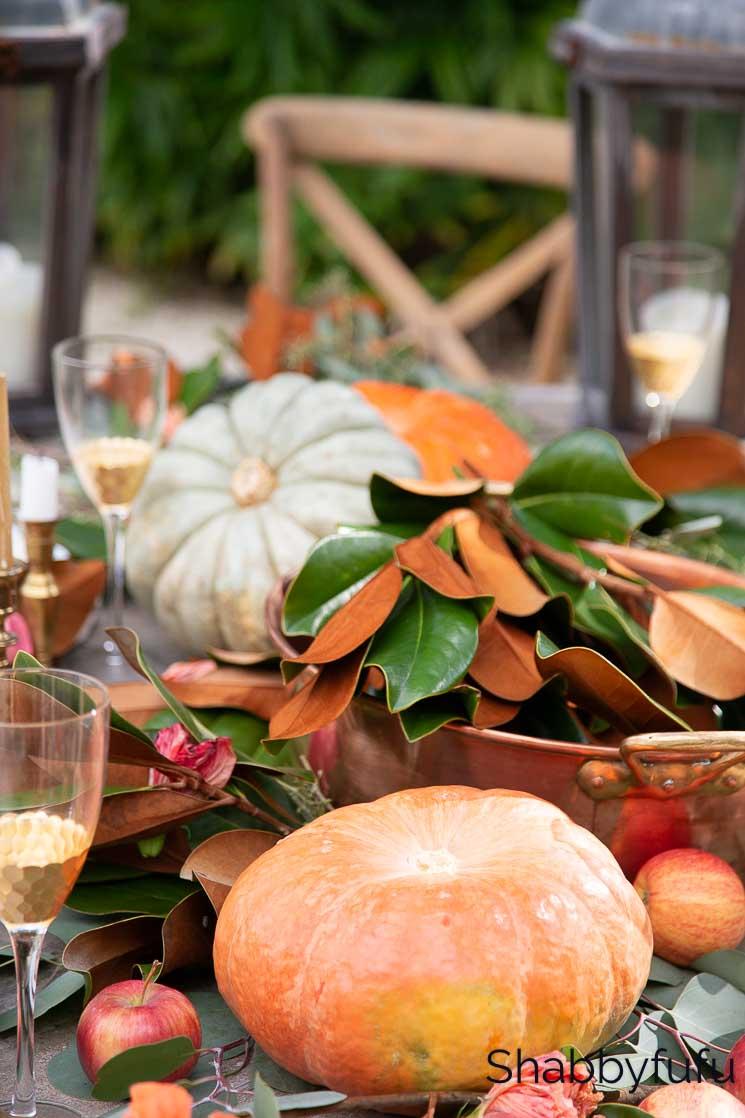 Friendsgiving decor table setting copper and magnolia