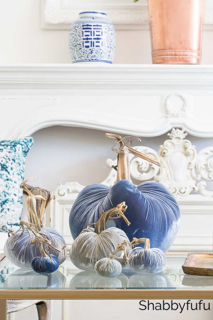 fall home decor blue velvet pumpkin collection