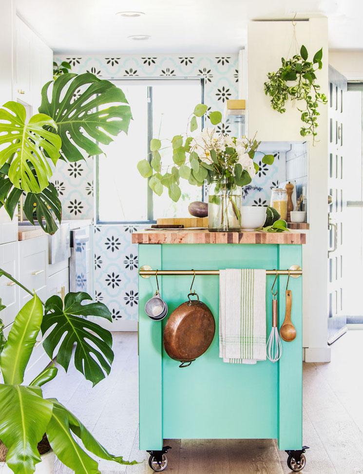 retro green kitchen island in a sunny kitchen