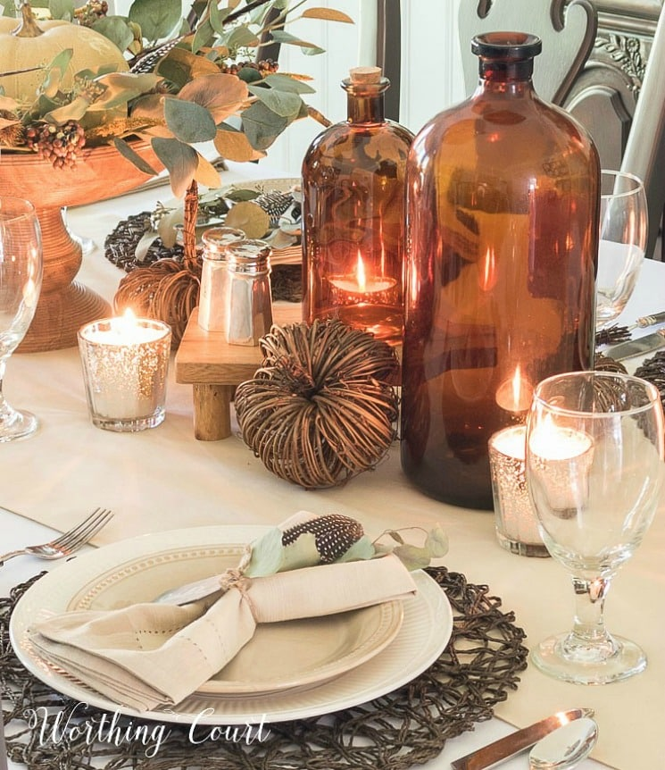 brown glass bottles on a Thanksgiving table