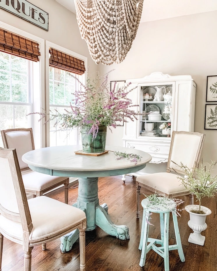 french farmhouse aqua dining room