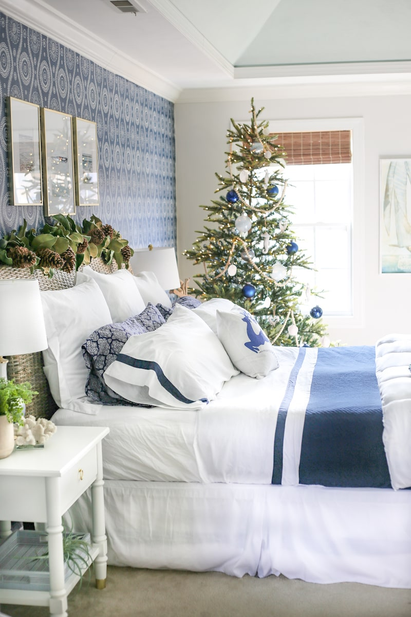 coastal style bedroom decorated for Christmas